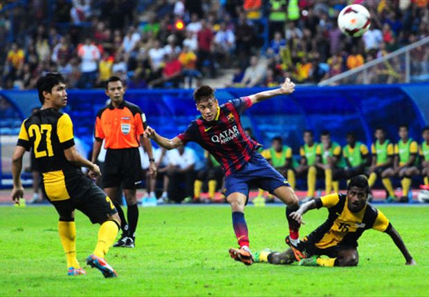 Neymar escapes the attention of both Fadhli Shas and Gurusamy