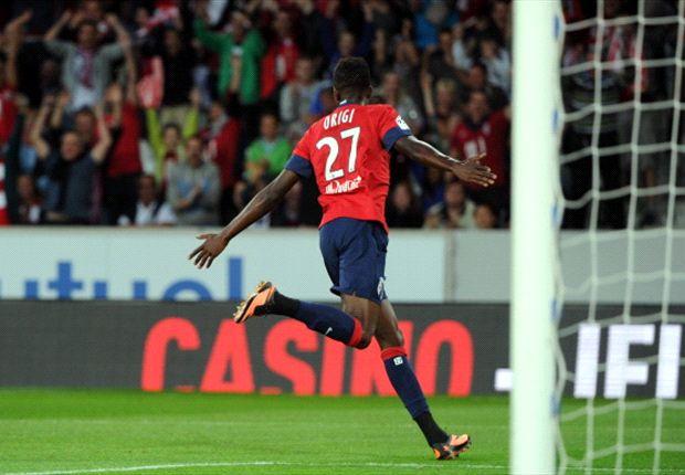 Kenya striker Divock Origi celebrates his goal against Lorient in the French league