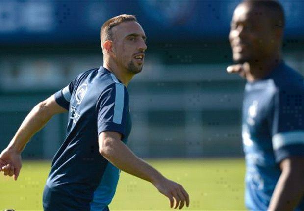 Franck Ribery ketika berlatih bersama skuat timnas Prancis