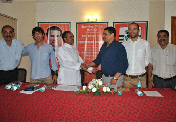 Victor Fernandes, Oscar Bruzon, Fr. Avin Carvalho, Peter Vaz, Javier Fernandez, Eddie Noronha (Photos: Sporting Clube de Goa)