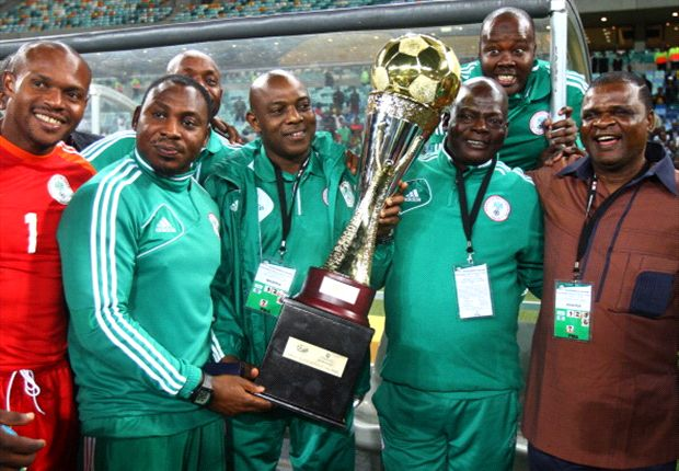Nigeria manager Stephen Keshi with the trophy after the 2013 Nelson Mandela Challenge