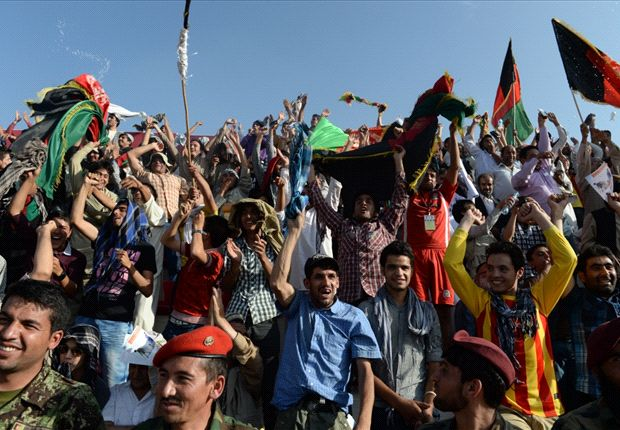 Afghanistan supporters cheering for their victorious home side