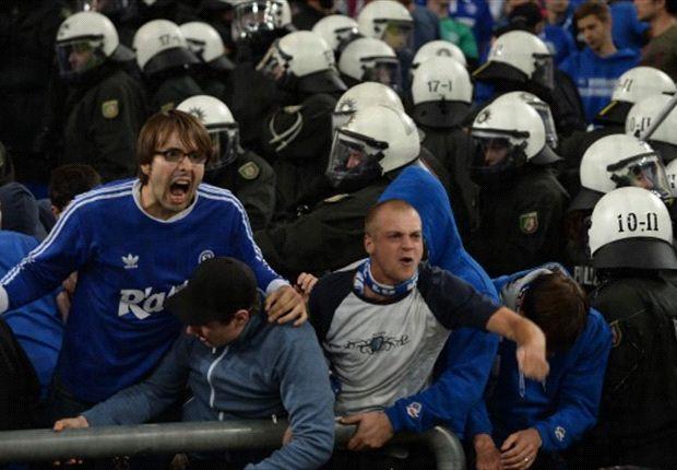 Die Polizei sorgte im Schalker Block für Ordnung