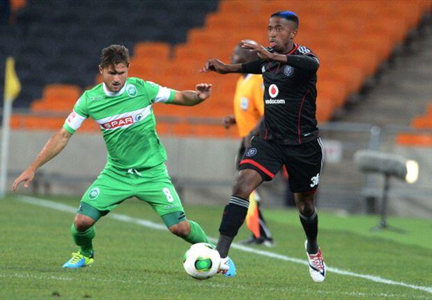 Marc Van Heerden of AmaZulu and William Thwala of Orlando Pirates