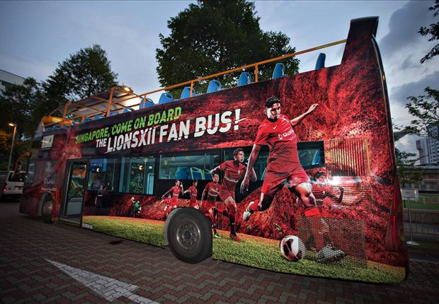 The brand new LionsXII bus parked outside Jalan Besar Stadium