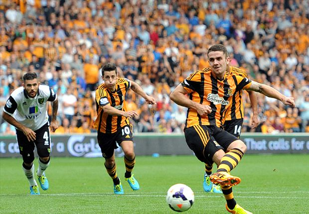 Hull City Tigers 1-0 Norwich City: Brady penalty enough for 10-man hosts