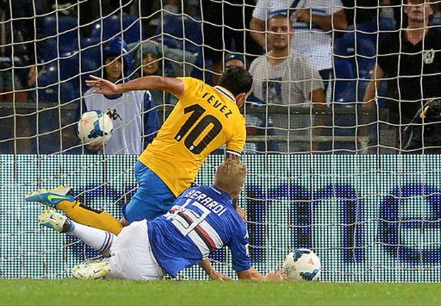 Tevez festejó en su debut en Serie A y Juventus le ganó 1-0 a Sampdoria.