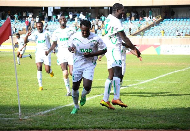 Gor Mahia defender David Owino celebrates after scoring against AFC Leopards