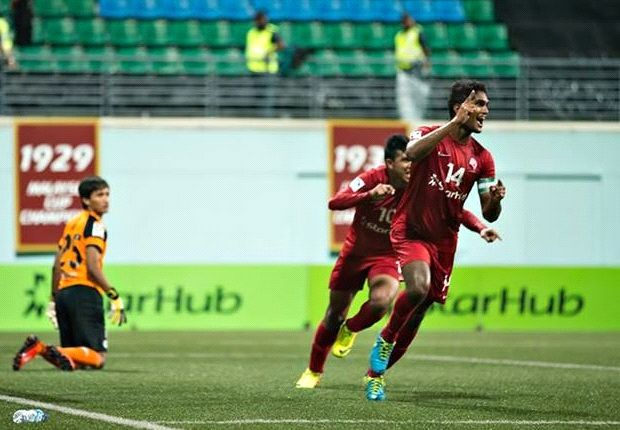 Hariss races away after scoring for the LionsXII. He has had a mixed season this year. (Photo: FAS)