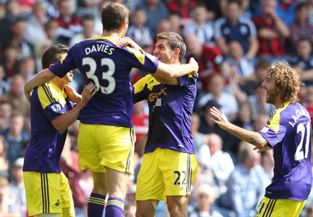 West Brom 0-2 Swansea: Davies and Hernandez get Swans up and running