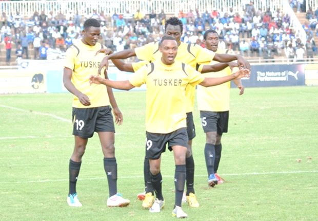 Tusker striker Andrew Tololwa celebrates a goal with Jesse Were in a past match