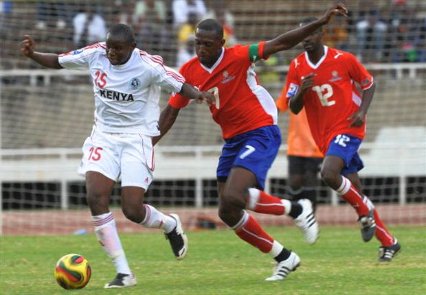Patrick Oboya turning out for Harambee Stars against Namibia in this past photo