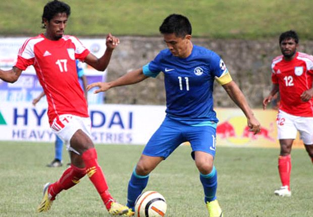 Sunil Chhetri rescues a point for India against Bangladesh (Photo: Goalnepal.com)
