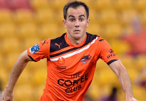 In action on loan at the Roar last season