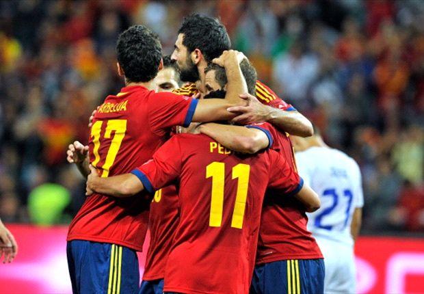 España celebrando un tanto