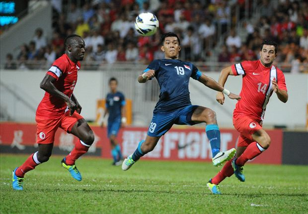 Singapore striker Khairul Amri in action against Hong Kong