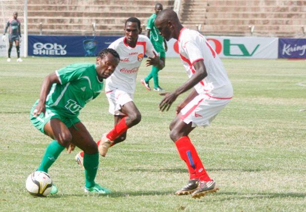 Gor Mahia's David Owino takes on Shabana's Joash Ogega in a past match