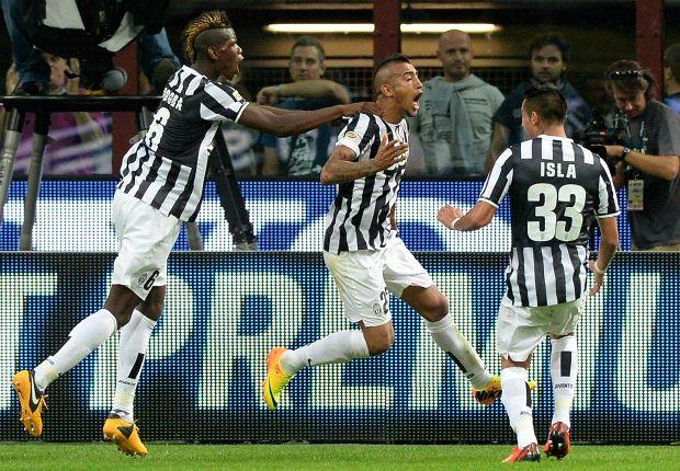 Vidal esulta dopo l'1-1 nel Derby d'Italia