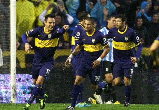 Méndez, Sánchez Miño y Gigliotti, en la victoria de Boca.