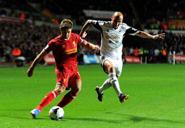 Rekor kemenangan Liverpool dihentikan Swansea di Liberty Stadium.