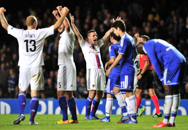 Basel celebrate their upset win at Stamford Bridge
