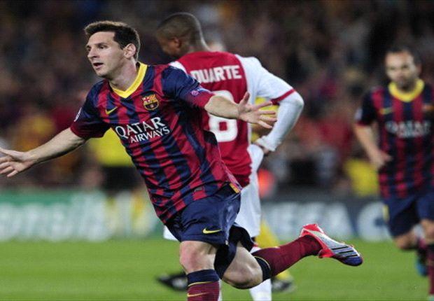 Messi marcó tres goles en la victoria de Barcelona sobre Ajax.