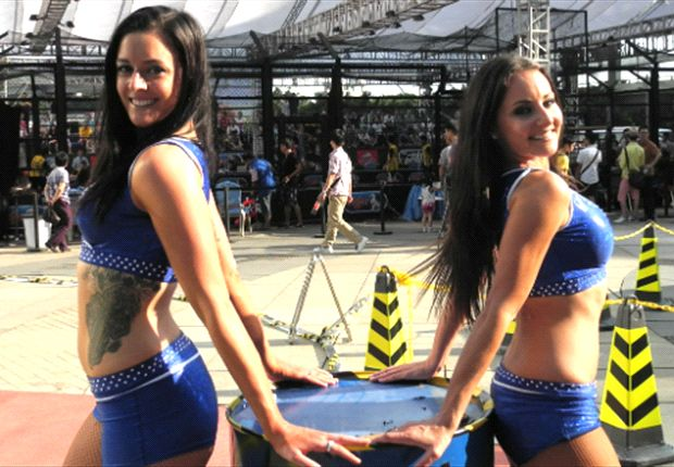Corinne (L), is a cheerleader for the Sharks back in Australia's NRL.
