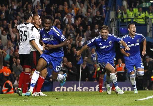 Mikel celebrates after scoring his goal against Fulham