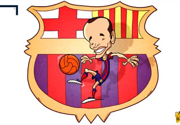 Cartoon - Iniesta : Un emblème pour Barcelone