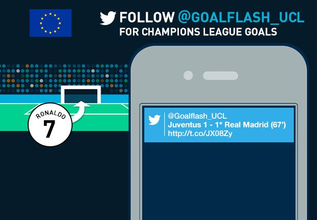 Follow @GoalFlash_UCL - Champions League goals sent to your mobile!