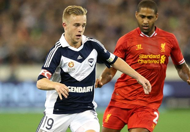 The young forward takes on Liverpool's Glen Johnson