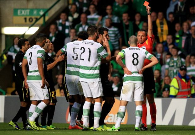 Celtic captain Brown apologises for red card in loss to Barcelona