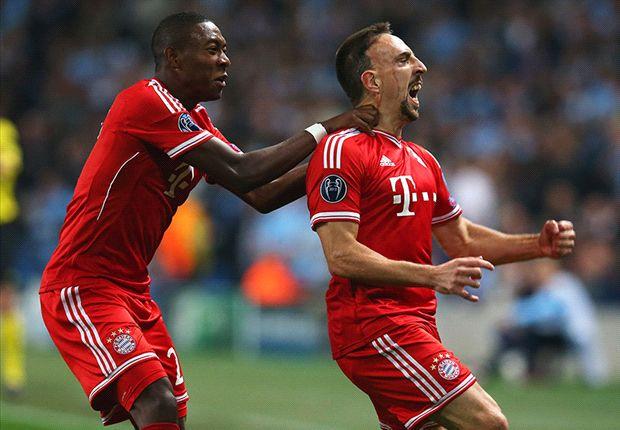 Selebrasi Ribery usai mencetak gol pertama bagi Bayern.