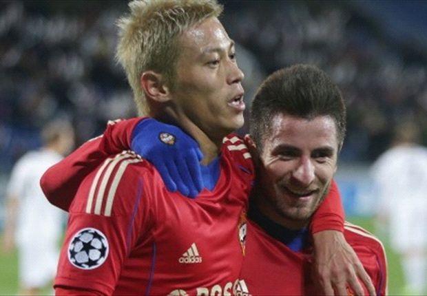 Honda dan Tosic, sama-sama menyumbang satu gol untuk CSKA