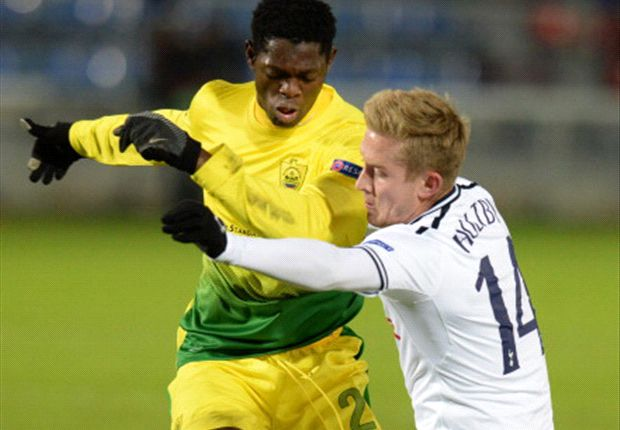 Dele Adeleye in the game against Tottenham