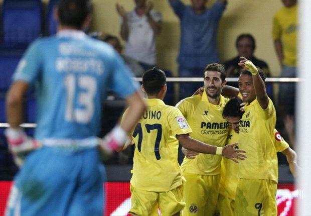Los jugadores del Villarreal celebran un gol en un encuentro de Liga