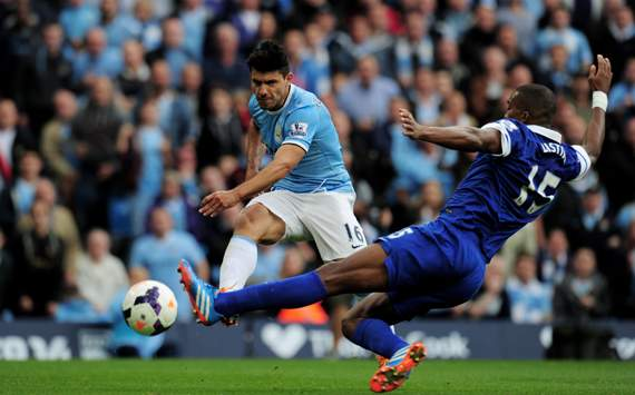 Sergio Aguero and Sylvain Distin Manchester City v Everton - Premier League 10052013