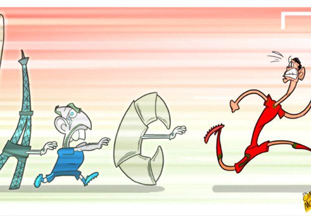 Cartoon - Ronaldo a peur de la France