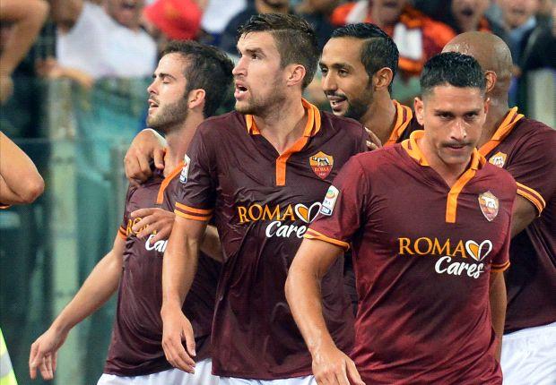 L'esultanza dei giallorossi dopo il successo sul Napoli