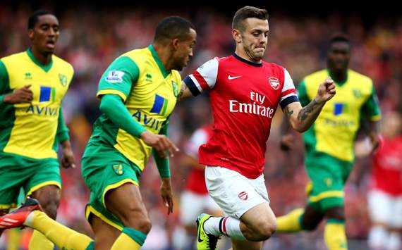 Jack Wilshere Martin Olsson Arsenal Norwich City 19102013
