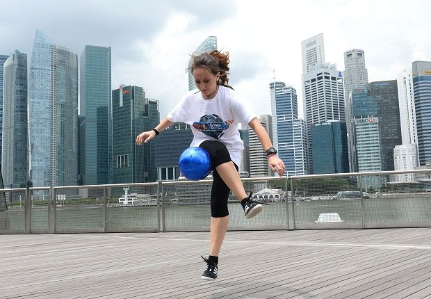 The Italian showing off her skills at Marina Bay Sands. (Photo: APB Singapore)