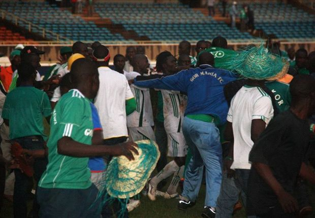 Gor Mahia fans attack Sony Sugar players at the end of the match on Saturday