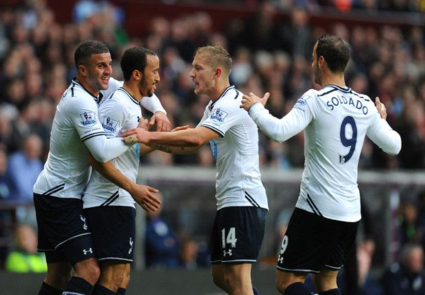 Aston Villa 0-2 Tottenham: Townsend and Soldado get Spurs back to winning ways