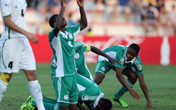 Nigeria U17 celebrate goal against Iraq