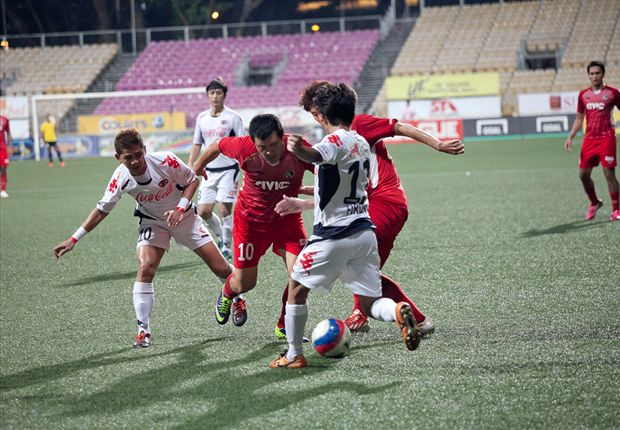 No way through for Balestier striker Qiu Li against former side Home United in their 1-0 loss.