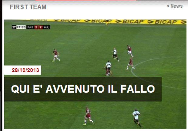 La foto pubblicata dal Milan sul proprio sito web a conferma delle proprie accuse sull'errore di Valeri.