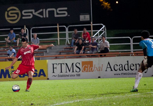 China-born forward Qiu Li coolly finishes for Balestier's second goal.