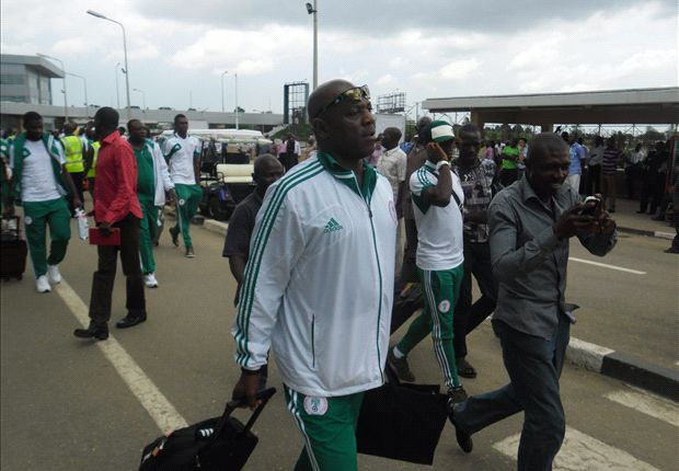 Stephen Keshi on arrival from Jordan