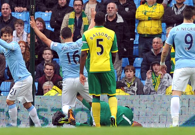 Manchester City 7-0 Norwich City: Aguero shines at hosts run riot