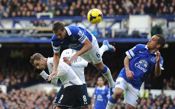 Phil Jagielka Roberto Soldado Everton v Tottenham Hotspur Barclays Premier League 03112013
